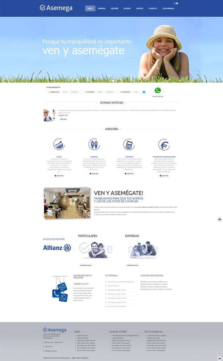 Ejemplos diseño web. Diseño para Asesoría de empresas Asemega
