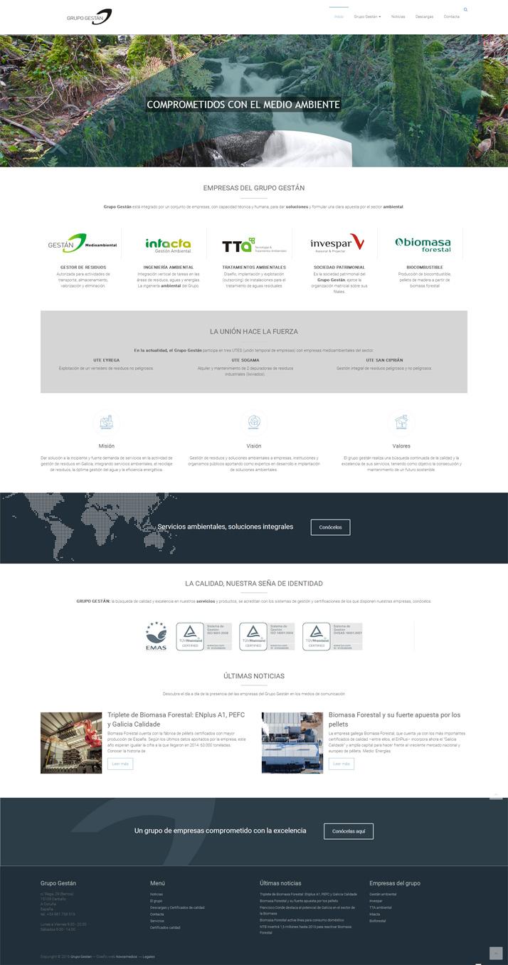Diseño pagina para el grupo de empresas Grupo Gestán