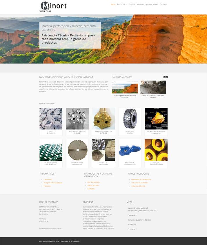 Diseño pagina web para Suministros Minort