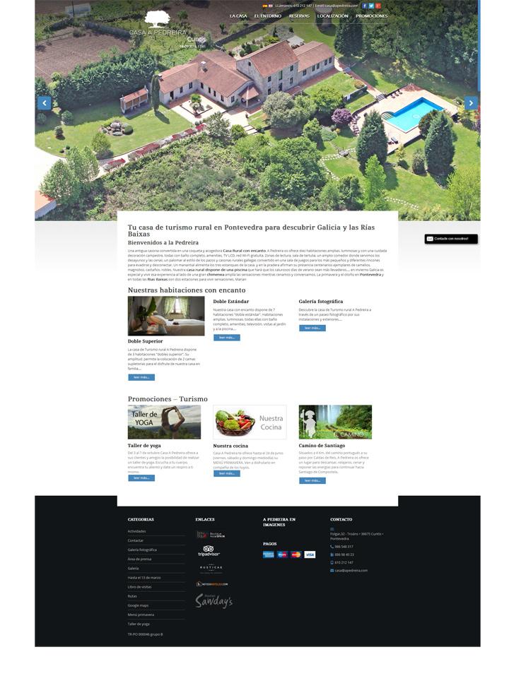 Diseño pagina web para Casa de Turismo Rural A Pedreira