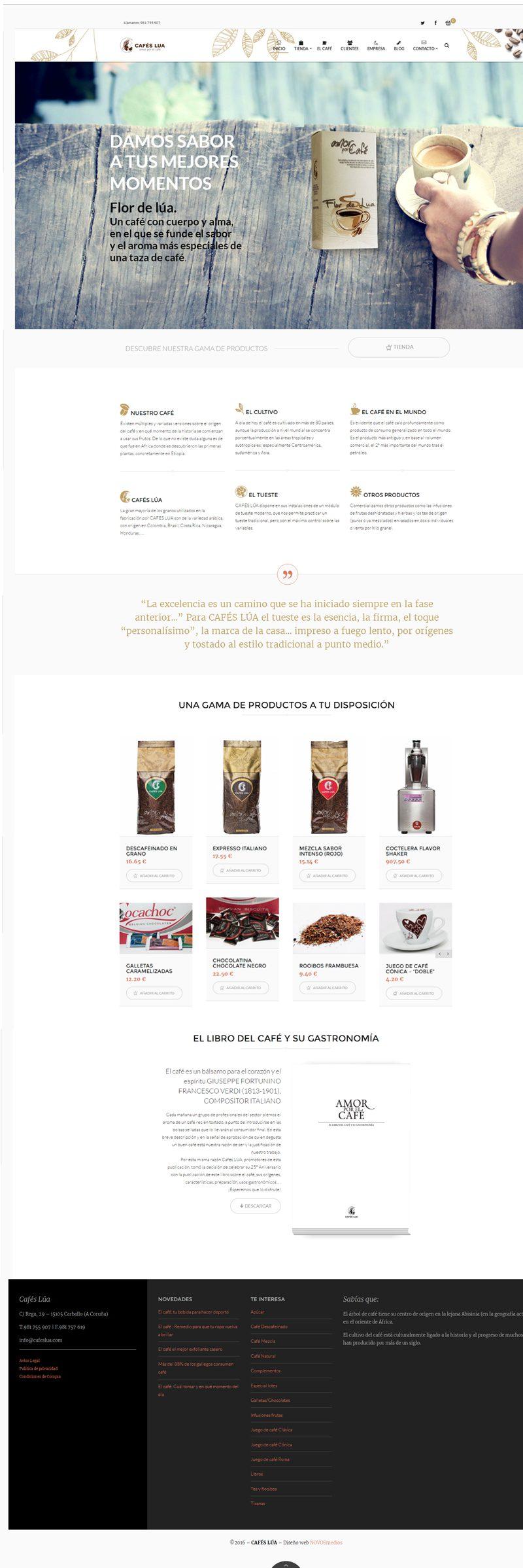 Diseño tienda online para Cafés Lúa