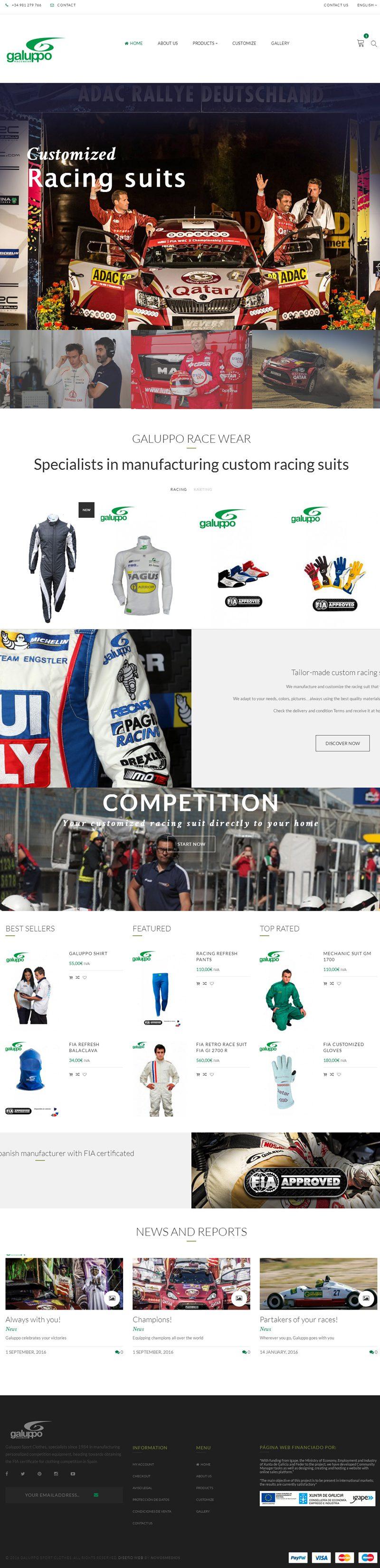 Diseño tienda online para Galuppo Sport Clothes
