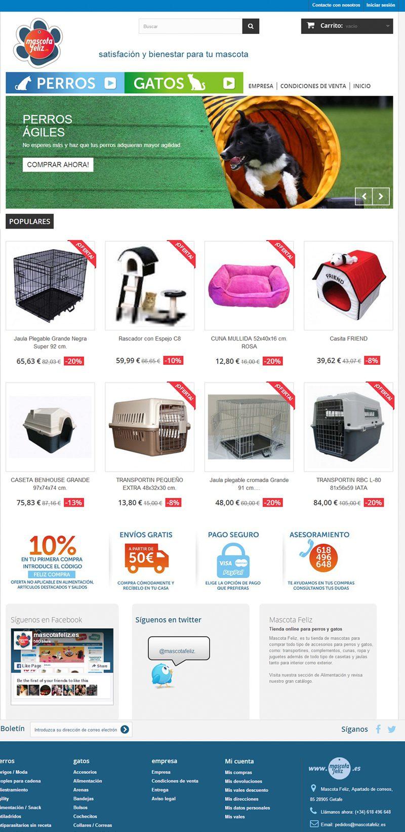 Diseño tienda online para Mascota Feliz