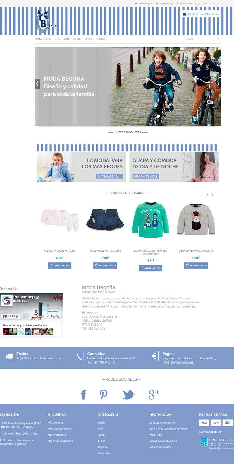 Diseño tienda online para Moda Begoña