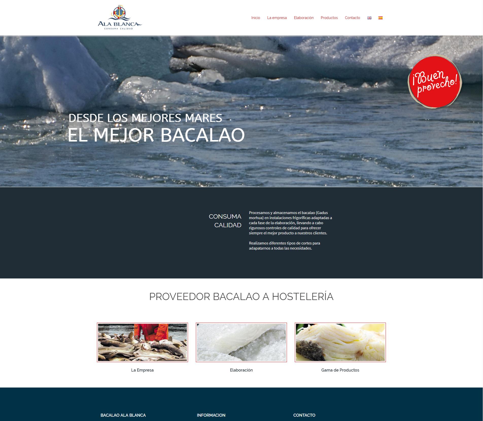 Ejemplos página web corporativa. Diseño para Bacalao Ala Blanca