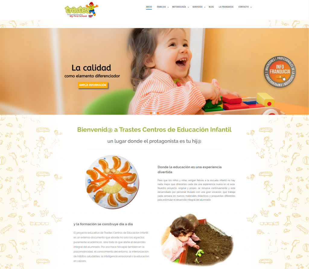 Ejemplo de diseño de página web para la franquicia de centros infantiles Trastes