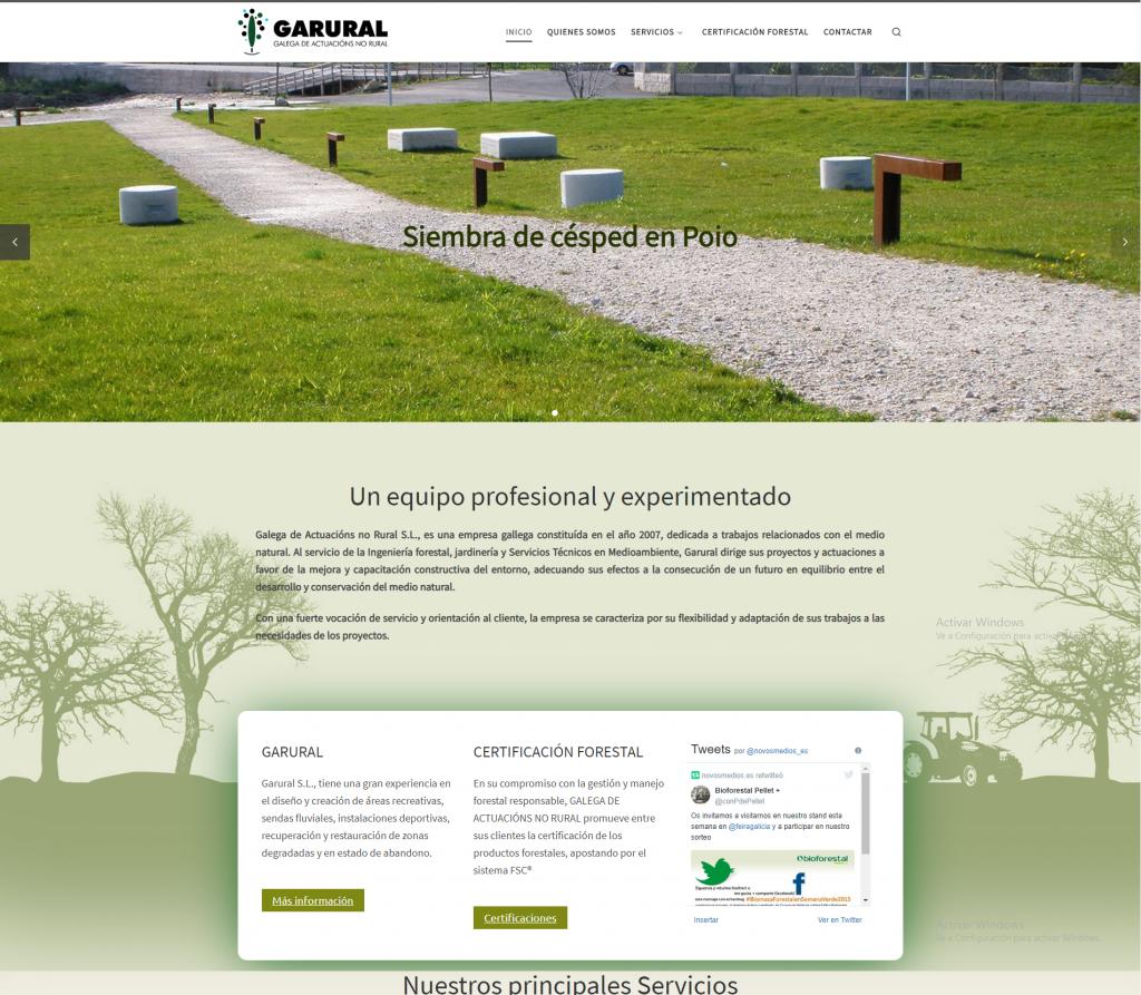 Ejemplo diseño pagina web corporativa para la empresa Garural