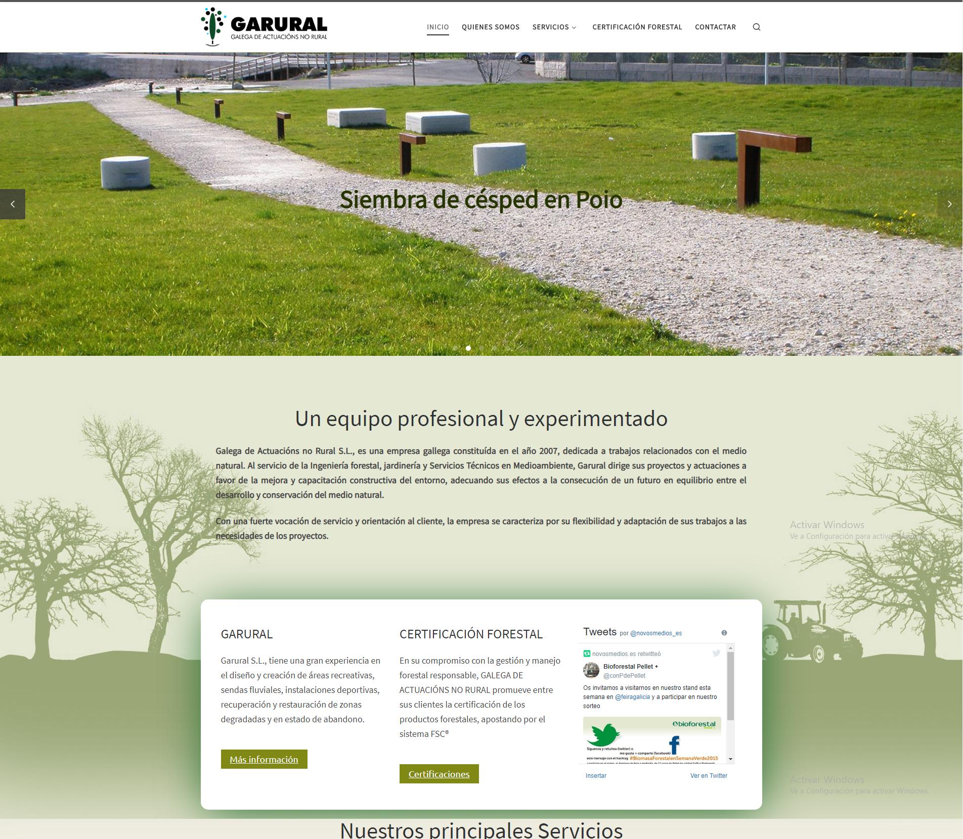 Ejemplos página web corporativa. Diseño para Garural