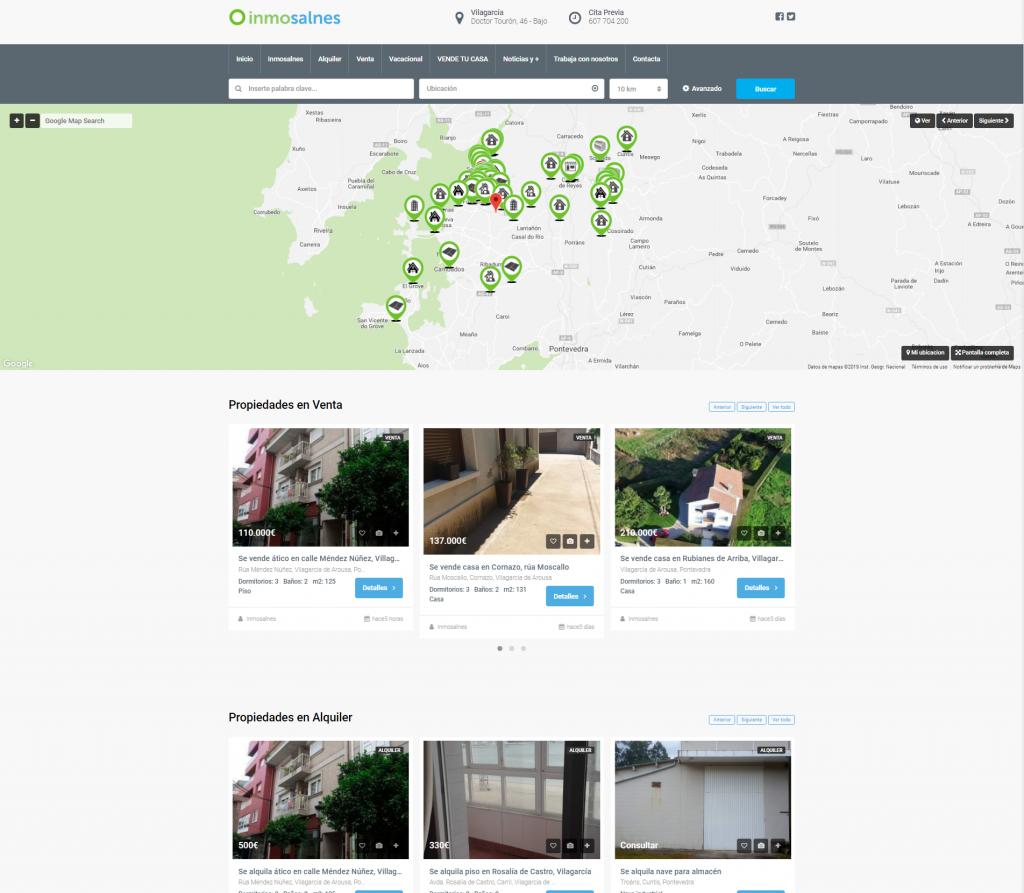 Ejemplo de diseño de pagina web para una Agencia Inmobiliaria en Galicia