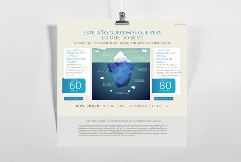 Ejemplo de diseño de un correo electrónico para envíos masivos hecho por NOVOSmedios