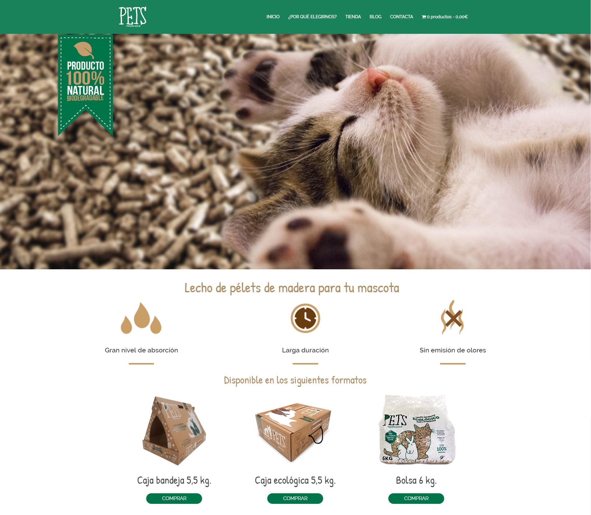 Ejemplos tienda online. Diseño para Pets Bioforestal